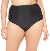 Ava & Viv Women's Plus Size High Waisted Swim Bottoms Black