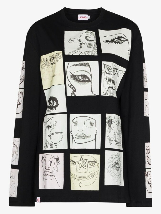 Thumbnail for your product : Charles Jeffrey Loverboy Black Digital Print Cotton T-Shirt