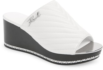 Karl Lagerfeld Paris Leni Quilted Wedge Slide Sandal