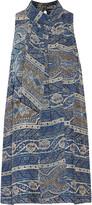 Haute Hippie Flotus tie-neck printed silk-jacquard mini dress