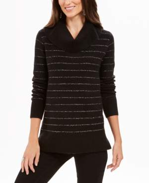 Style&Co. Style & Co Petite Metallic-Striped Turtleneck Sweater, Created For Macy's