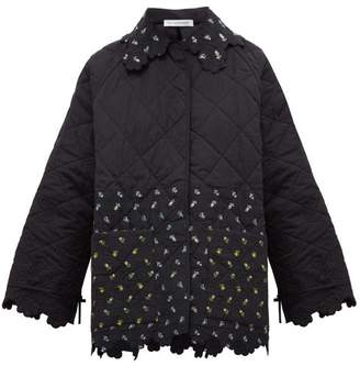 Cecilie Bahnsen - Floral Patchwork Quilted Cotton Jacket - Womens - Black Yellow