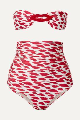 Adriana Degreas Bacio Embellished Ruched Printed Bandeau Bikini - Red
