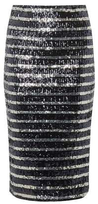 Dorothy Perkins Womens Navy And Silver Sequin Striped Pencil Skirt