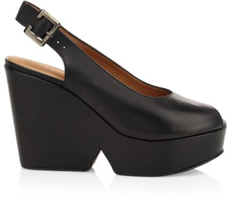 Clergerie Dylan 3 Leather Slingback Wedges