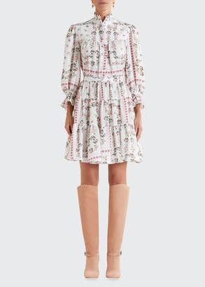 Etro Floral Tiered Ruffle Georgette Dress