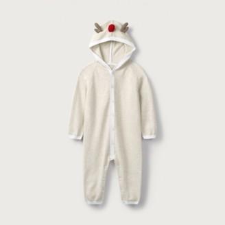 The White Company Jingles Reindeer Knitted Romper, Oatmeal, 3-6mths
