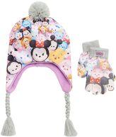 Disney Disney's Tsum Tsum Girls 4-16 Earflap Pom-Pom Hat & Gloves Set
