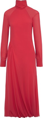 Victoria Beckham Open-back Gathered Chiffon Turtleneck Midi Dress