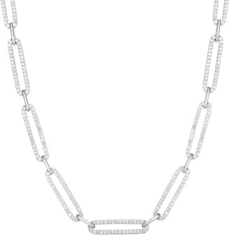Sphera Milano 14K White Gold Plated Sterling Silver Pave CZ Link Choker Necklace