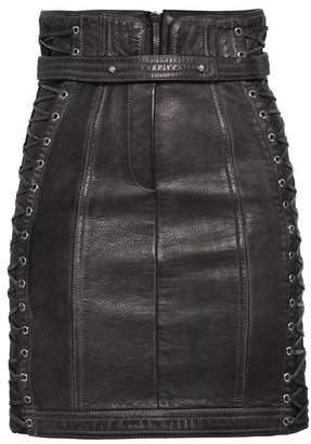 Balmain Lace-up Pebbled-leather Mini Skirt