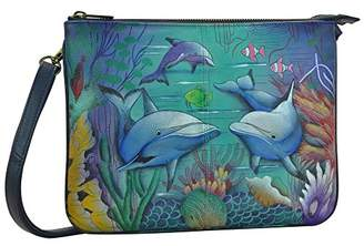 Anuschka Hand Painted Leather Women's Triple Compartment Crossbody
