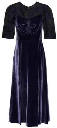 Rebecca Taylor Organza Fil Coupe-paneled Velvet Midi Dress