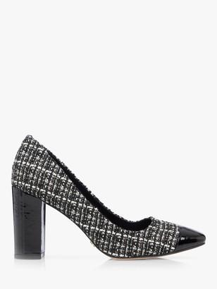 Dune Blanko Boucle Contrast Toe Block Heel Court Shoes, Grey