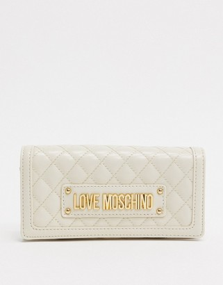 Love Moschino quilted purse with chain strap in ivory