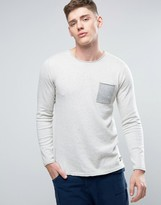 Jack and Jones Originals Knitted Sweater with Raw Hem Pocket and Drop Hem