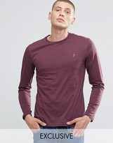 Farah Long Sleeve T-Shirt With F Logo In Slim Fit In Bordeaux
