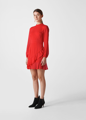 High Neck Dobby Frill Dress