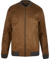 River Island MensLight brown faux suede bomber jacket