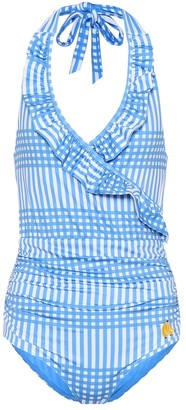 Ganni Exclusive to Mytheresa Aroa printed halterneck swimsuit
