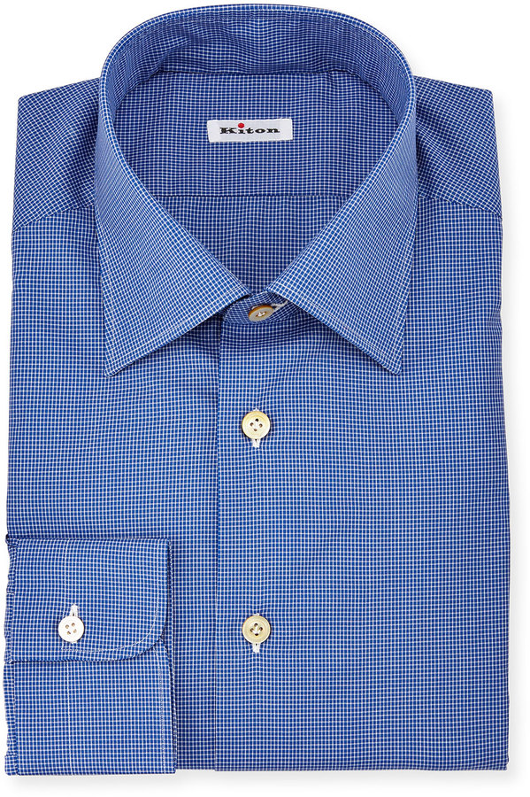 Kiton Saturated Micro-Check Long-Sleeve Dress Shirt, Navy