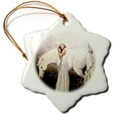 3drose Girl with Unicorn Snowflake Porcelain Ornament, 3-Inch