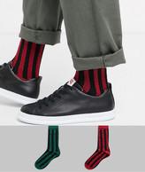 Asos Design DESIGN 2 pack ankle sock with glitter stripe print save