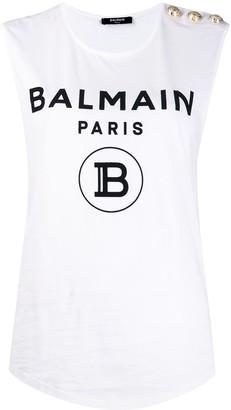 Balmain Buttoned Logo Print Sleeveless Top