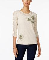 Alfred Dunner Petite Embellished Crochet-Trim Top