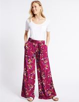 Marks and Spencer Floral Print Wide Leg Trousers
