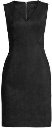 Toccin V-Neck Faux Suede Dress