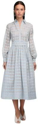 Luisa Beccaria Embroidered Organza Shirt Dress