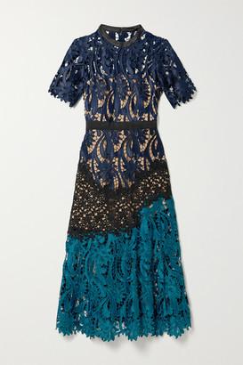 Self-Portrait Self Portrait Satin And Grosgrain-trimmed Paneled Guipure Lace Midi Dress - Midnight blue