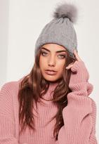 Missguided Faux Fur Pom Pom Beanie Hat Grey