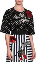 Dolce & Gabbana Bella Italia Embellished Dot-Print Blouse, Black/White