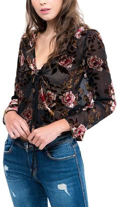 Lucy Paris Women's Blouses BLK - Black Floral Burnout Tie-Front V-Neck Top - Women