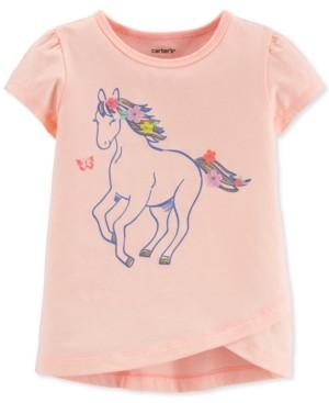 Carter's Toddler Girls Pink Glitter Horse Tulip T-Shirt