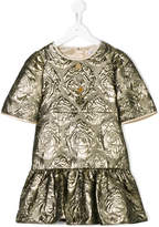 Dolce & Gabbana metallic rose embossed dress