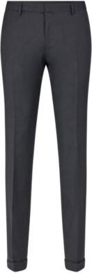 HUGO BOSS Extra Slim Fit Pants In Virgin Wool - Dark Blue