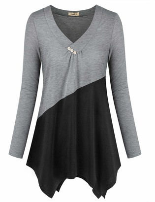 Cyanstyle Women's Loose Button V Neck Asymmetrical Hemline Long Sleeve Color Block Shirt Tunic Blouse Top (Grey Medium)