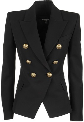 Balmain Serge Double Breasted Blazer Jacket Noir