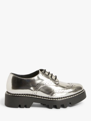 KIN Faye Leather Cleated Sole Brogue Shoes, Pewter