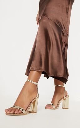 Indigo Gold Ankle Strap Block Heel