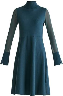 Paisie High Neck Skater Dress With Sheer Sleeves & Cuff Splits In Green