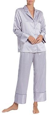 Jonquil Striped Satin Cropped Pajama Pants Set