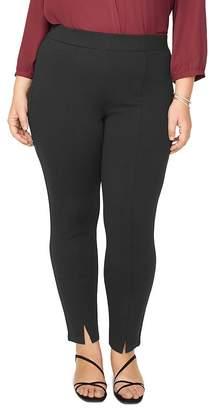 NYDJ Plus Ponte Knit Front-Slit Leggings