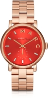 Marc by Marc Jacobs Baker Bracelet 36MM Red Dial Rose Gold Steel Women's Watch