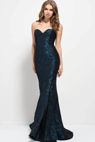 Jovani 50845 Beaded Strapless Floral Mermaid Gown
