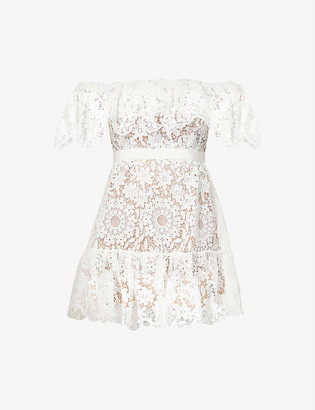 Self-Portrait Off-the-shoulder lace mini dress