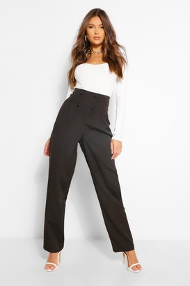 boohoo Button Front Pleat High Rise Straight Leg Trousers